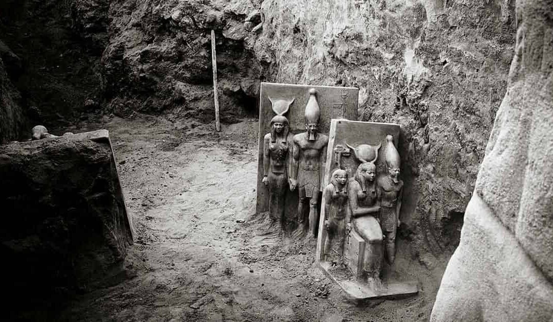 The buried statues of pharaoh Menkaure in Giza